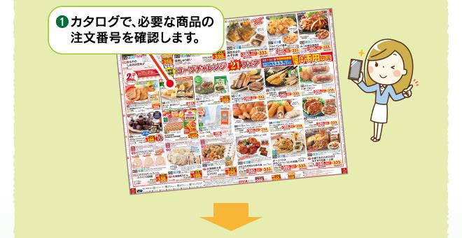 カタログで、必要な商品の注文番号を確認します。
