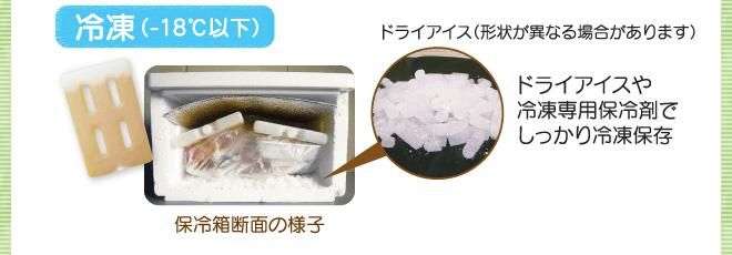 冷凍(-18℃以下) ドライアイスや冷凍専用保冷剤でしっかり冷凍保存