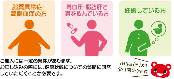 脂質異常症・高脂血症の方 高血圧・脂肪肝で薬を飲んでいる方 妊娠している方