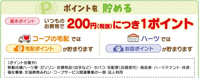ポイントを貯める いつものお買物で200円(税別)につき1ポイント