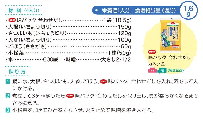 1/3日分の野菜味噌汁 材料・作り方