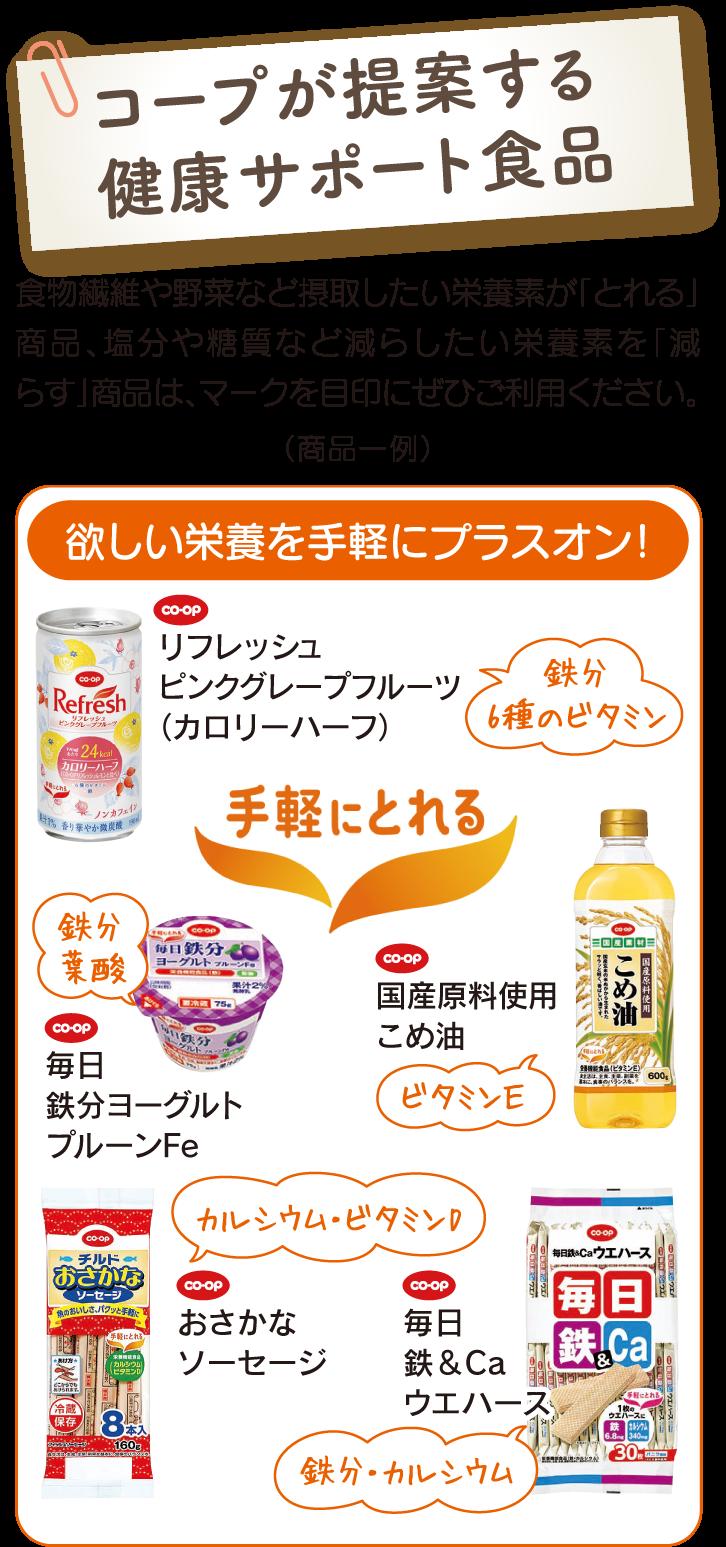 コープが提案する健康サポート食品